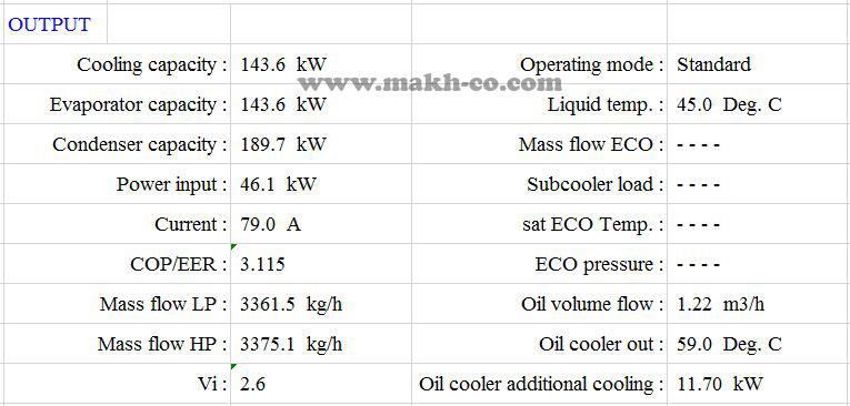 مشخصات خروجی برای محاسبه هزینه برق چیلر
